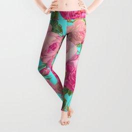 Vintage & Shabby Chic - Summery Rose Flowers Garden Pattern Leggings