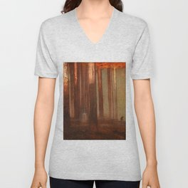 Dawn (Solitary Figure) forest landscape painting by Thomas Mostyn Unisex V-Neck