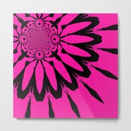 The Modern Flower Hot Pink & Black Metal Print