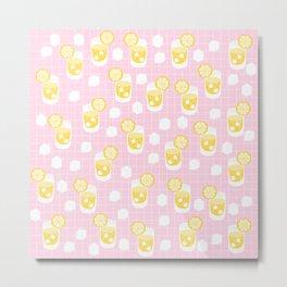 Cute Lemonade Drinks on Pink Background Metal Print