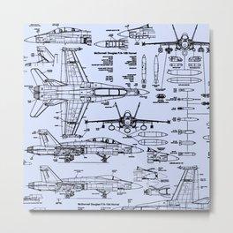 F-18 Blueprints // Light Blue Metal Print