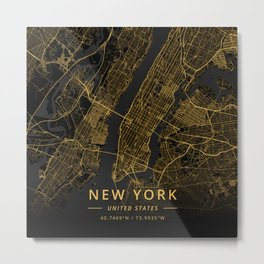 New York, United States - Gold Metal Print