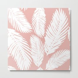 Pink Tropical Leaf Pattern Metal Print
