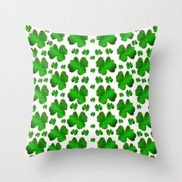 funny, laughing, shamrocks, green, st patricks day, shiny, gold, face, smile, shamrock Art Print Throw Pillow