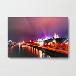 Shining Illumination Of Moscow Kremlin At Winter Night Metal Print