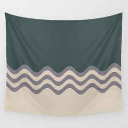 Magic Dust Muted Purple PPG13-24 & Sourdough Beige Wavy Horizontal Stripes on Night Watch Green Wall Tapestry