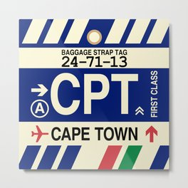 CPT Cape Town • Airport Code and Vintage Baggage Tag Design Metal Print