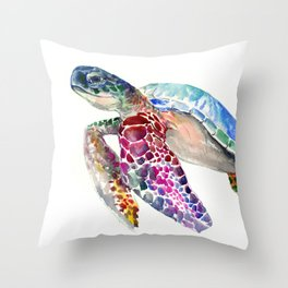 Sea Turtle, swimming turtle art, purple blue design animal art Throw Pillow