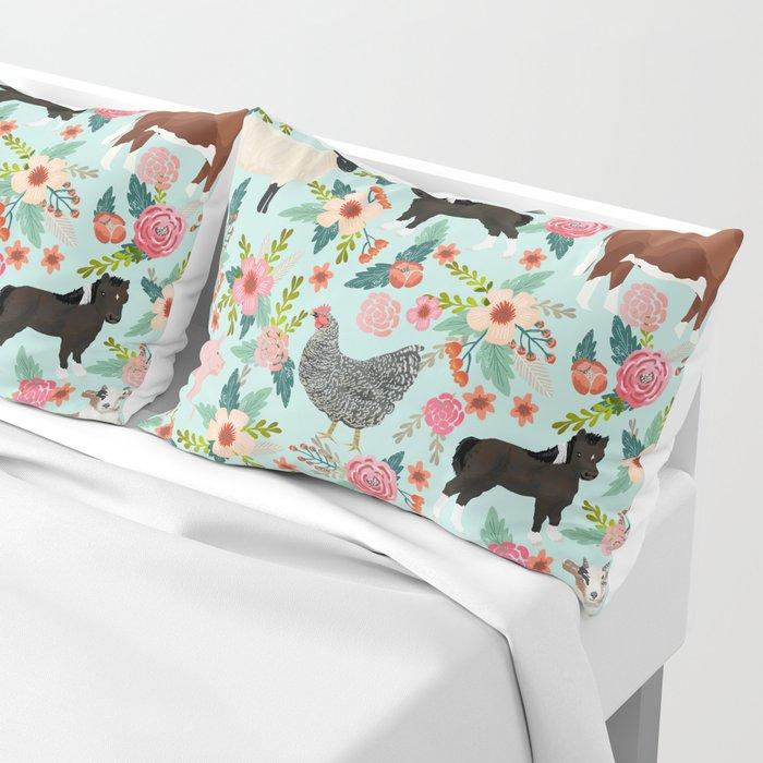 Farm animal sanctuary pig chicken cows horses sheep floral pattern gifts Kissenbezug