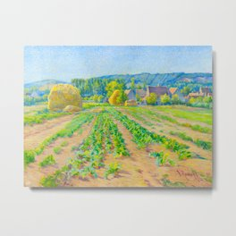 Václav Radimský (1867-1946) Cabbage Fields near Vernon Modern Impressionist Oil Painting Colorful Metal Print
