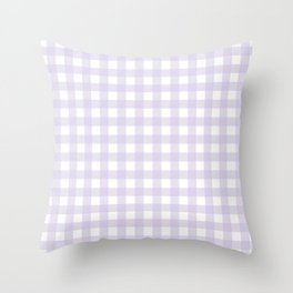 Lilac gingham pattern Throw Pillow