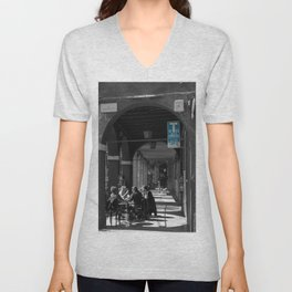 Bologna Tabacchi Blue Street Photography Black and White Unisex V-Neck