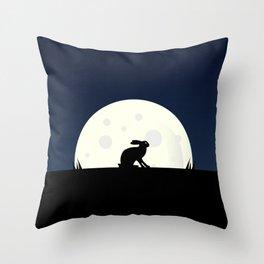 Rabbit at Dusk Throw Pillow
