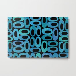 Retro abstract oval illustration pattern background. Mid century backdrop in blue and dark background. Geometric design. Minimal fifties Metal Print