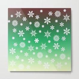 Snow Flurries-Green/Cream Ombre Metal Print