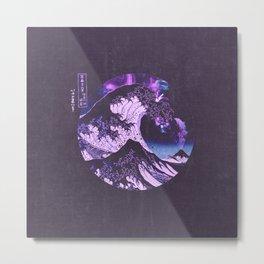 The Great Wave off Kanagawa Black and Purple Metal Print