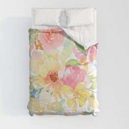 Colorful watercolors flowers pattern pink yellow and blue Comforters