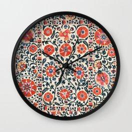 Shakhrisyabz Suzani  Uzbekistan Antique Floral Embroidery Print Wall Clock