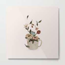 Coffee with Flowers Metal Print