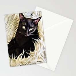 Black Cat Cuddle Stationery Cards