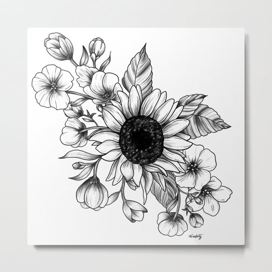 Bouquet of Flowers with Sunflower / Fall floral lineart by miaubetty