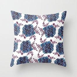 Watercolor houseleek - blue and burgundy Throw Pillow