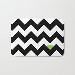 Heart & Chevron - Black/Green Bath Mat