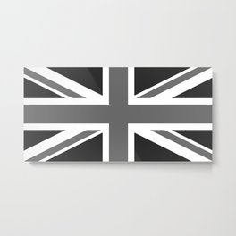 UK Flag, 1:2 Grayscale Metal Print