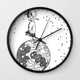 woman on the moon Wall Clock