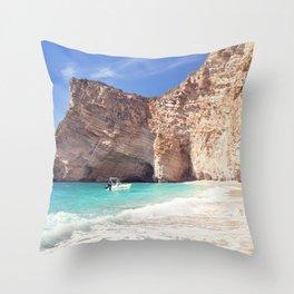Corfu. Greece. Wild beach among the rocks. Throw Pillow