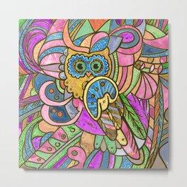 Colorful Pastel Owl Collage Metal Print