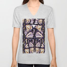 B&W  CONTEMPORARY MONARCH BUTTERFLY ABSTRACT Unisex V-Neck