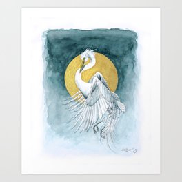 The Great White Egret and Golden Moon Art Print