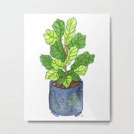 Fiddle Leaf Fig - Blue Speckled Planter Metal Print