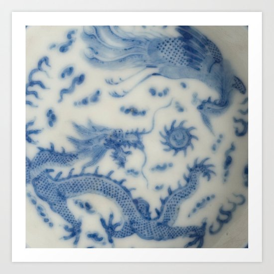 Damask vintage Monaco blue white girly ginger jar floral antique chinese dragon chinoiserie china by igallery