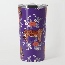 Tiger Clemson purple and orange florals university fan variety college football Travel Mug