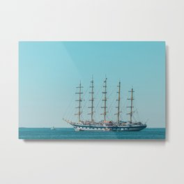 Antique Ship At Sea, Set Sails In Cannes, Ocean Print, Seascape View, All Sails Up Metal Print