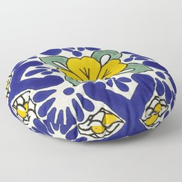 talavera mexican tile in yellow Floor Pillow