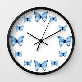 Two Blue Butterflies Watercolor Wall Clock