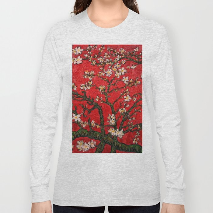 Almond Blossoms Red Vincent Van Gogh Long Sleeve T-shirt