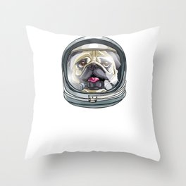 I Need More Space Astronaut Pug Outserspace Science Geek Throw Pillow