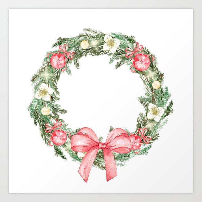 Watercolor Christmas Wreath Art Print By Kleinworthco Society6