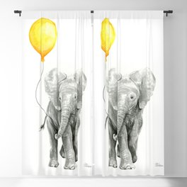 Elephant Watercolor Yellow Balloon Whimsical Baby Animals Blackout Curtain