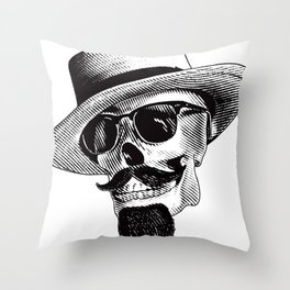 Hipster Skull in Black and White Throw Pillow