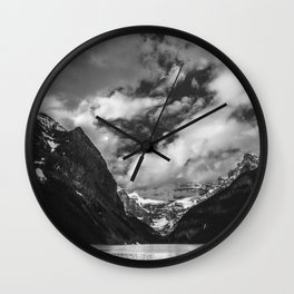 Lake Louise Black and White Minimalism Photography | Black and White | Photography Wall Clock