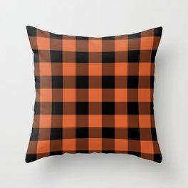 Burnt Orange Buffalo Plaid Throw Pillow