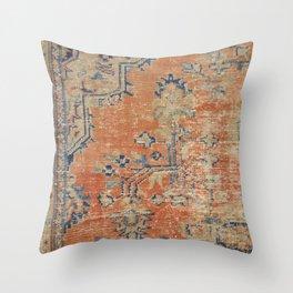Vintage Woven Navy and Orange Throw Pillow