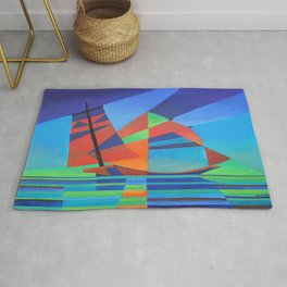 Cubist Abstract Junk Boat Against Deep Blue Sky Rug
