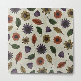 Fall Floral Pattern (OATMEAL) Metal Print