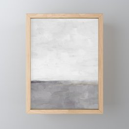 Light & Dark Gray with Gold Charcoal Grey Abstract Painting, Modern Wall Art, Framed Mini Art Print